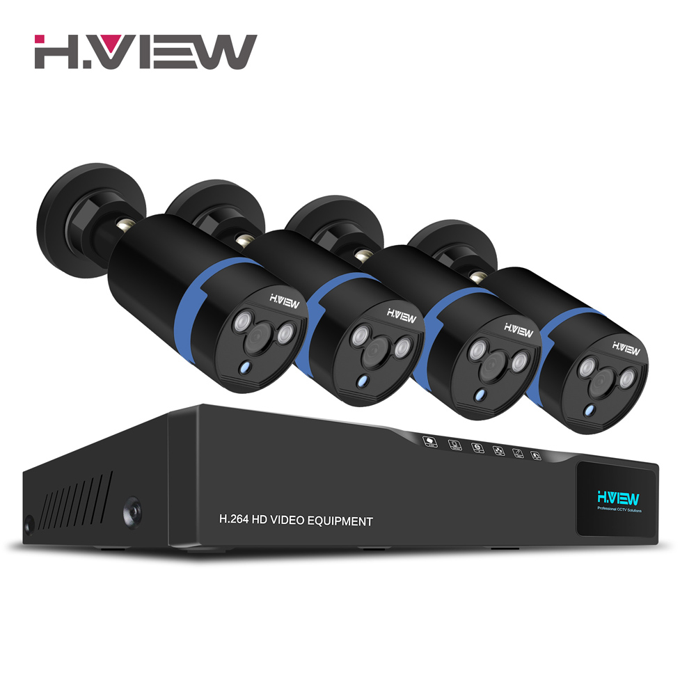 H. Ansicht 16CH Überwachung System 4 1080 P Outdoor-überwachungskamera 16CH CCTV DVR Kit Videoüberwachung iPhone Android Remote View
