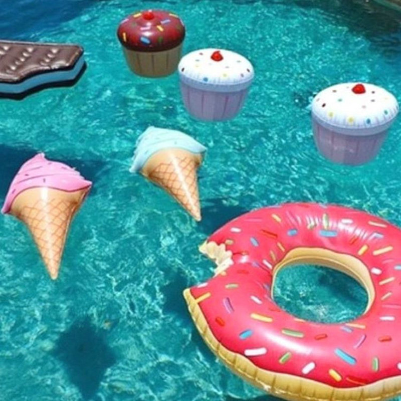 1pcs Pool Float Water Fun Toys Swim Ring Ice Cream Shaped Inflatable Float  Pool Accessories Floats Enviromental PVC Swimming Toy