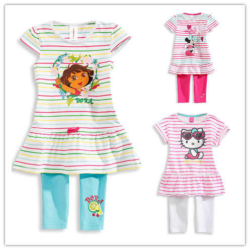 18 months  Cartoon hello kitty girls set 2 pcs suit girl's short sleeve T-shirt tops + pants whole suits short form for months