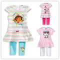 2-6ages 2 3 4 6 years Cartoon hello kitty girls set 2 pcs suit girl's short sleeve T-shirt tops + pants whole suits BC00