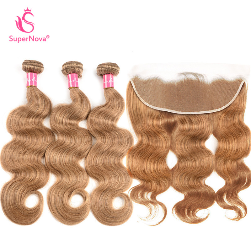 Hair Extensions & Wigs Humor #27 Honey Blonde Bundles With Lace Frontal Closure Supernova Remy Hair 4 Pcs Lots Lustrous Surface 3/4 Bundles With Closure