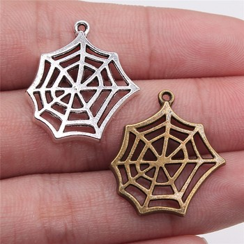WYSIWYG 20pcs Charms Spider Web Spider 2 Colors Antique Silver Color Antique Bronze Plated 25x22mm Spider Web Spider Charms фото