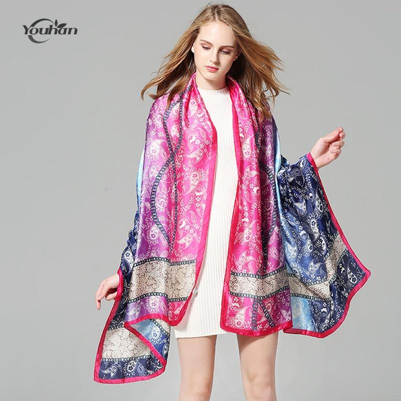 YOUHAN 2018 Fashion Women Scarf Suncreen Satin Silk Cashew Flower Printed Female Scarves Travel Shawl Lady Scarf Drop Shipping