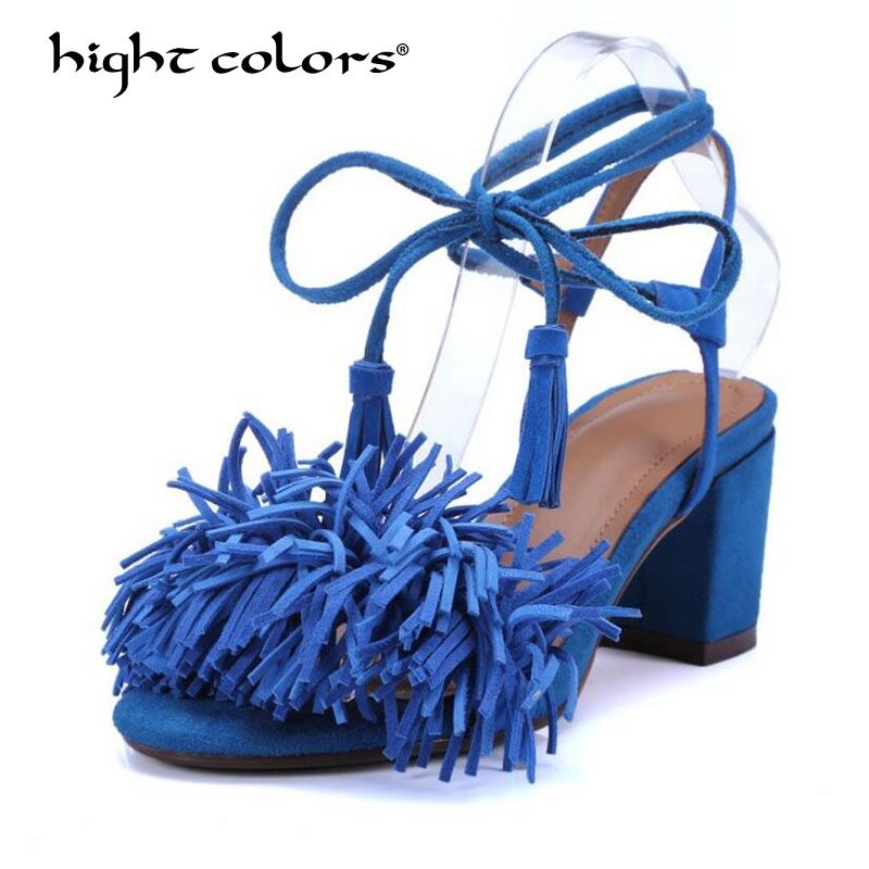 hight colors Brand Fringe Lace-Up Gladiator Sandals Women Flats 2018 Summer Tassel Shoes Ladies Wedding Beach Sandals HC-554 brand shoes woman flock gladiator sandals women summer dress shoes lace up high heels fringe beach casual shoes ladies sandals