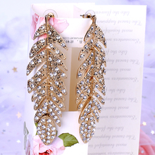 New Fashion Long Earrings Rhinestone Gold Feather Alloy Drop Earrings For Women Jewelry Big Funny Earrings Inoxidable Mujer
