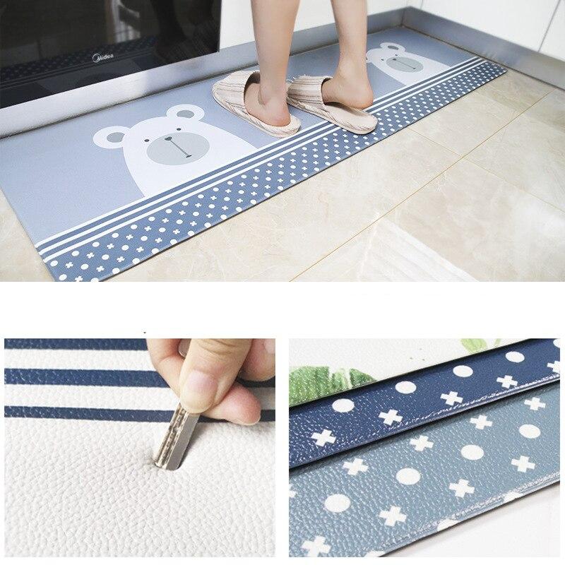 Image 5 - PVC Leather Kitchen Rugs Carpets Set Long Size Sofa Area Rugs Oil  proof Waterproof Living Room Bedside Floor Tatami Mat tapetesRug   -