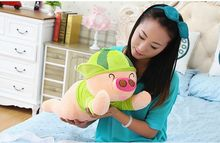 new plush McDull pig toy cuddly toy stuff lying watermelon pig doll valentine's day gift about 60cm