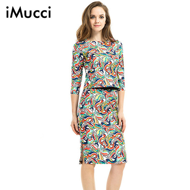 9de3ea7d6eda Fashion Spring Summer Print 2 Piece Set Women O-Neck Half Sleeve Elastic  Waist Knee