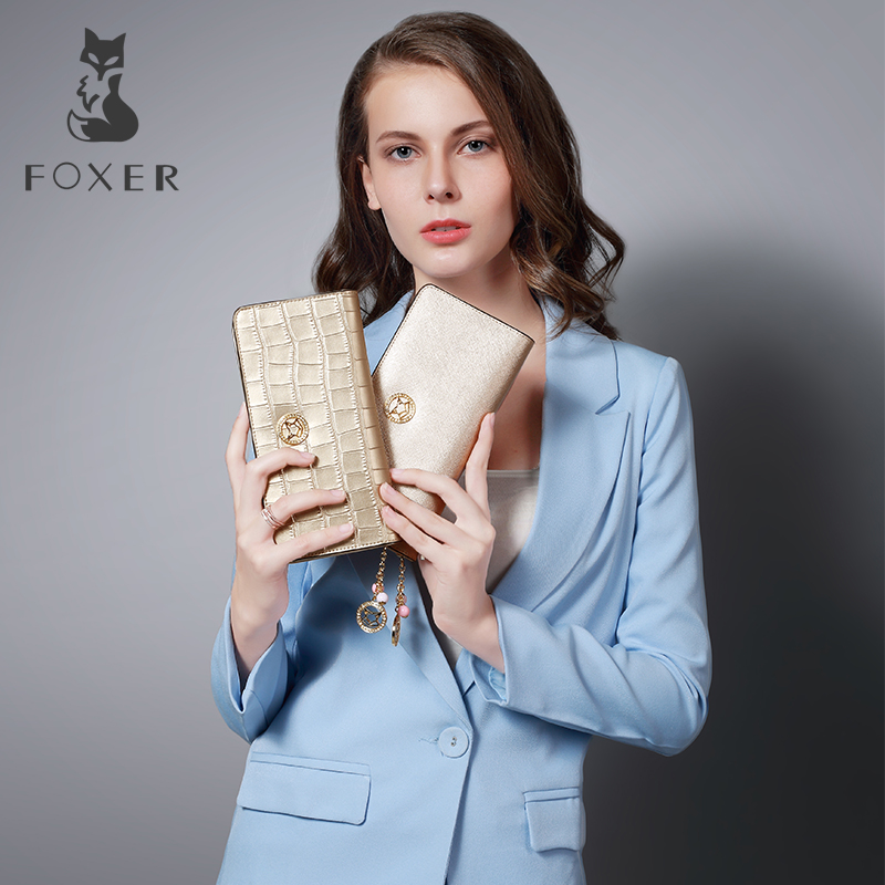 FOXER Leya Women Leather Wallet Simple Coin Purses