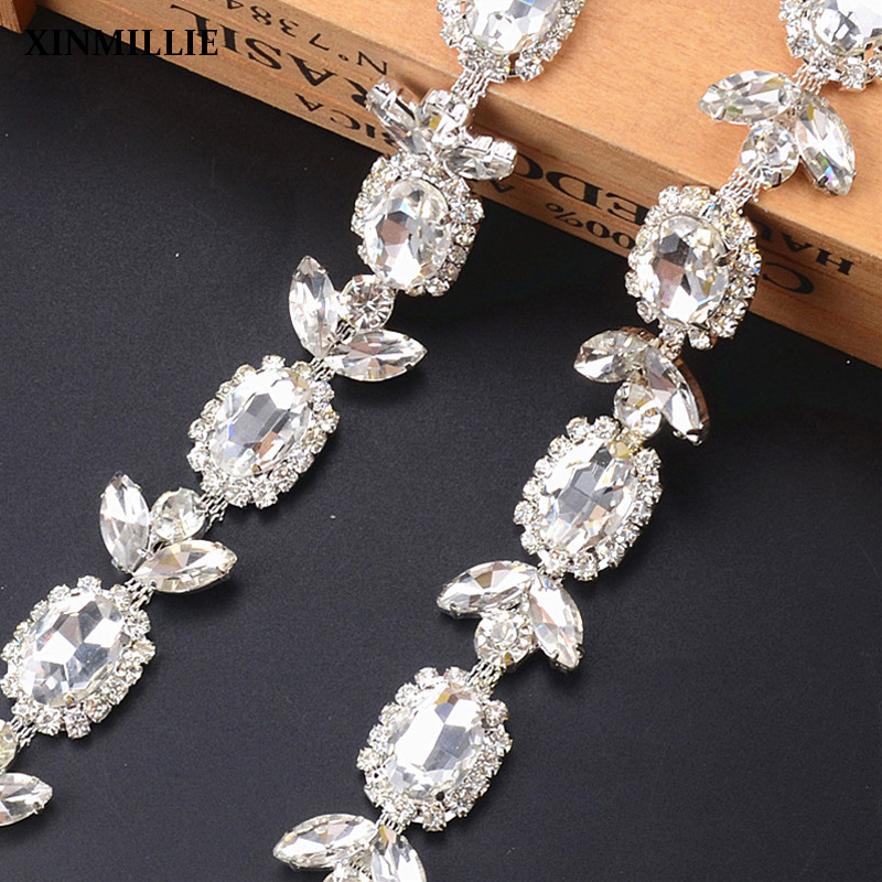 New wedding dress flower crystal belt chain 10yard lot Blink gemstone fancy bridal garment accessories belt