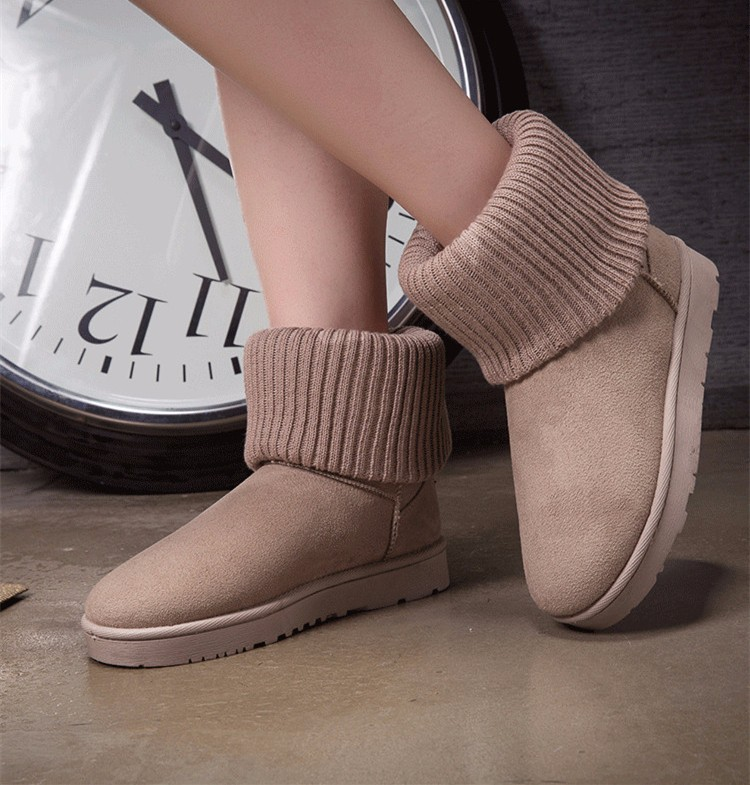 KUYUPP Patchwork Knitting Wool Women Snow Boots Winter Shoes 2016 Flat Heels Warm Plush Ankle Boots Slip On Womens Booties DX119 (22)