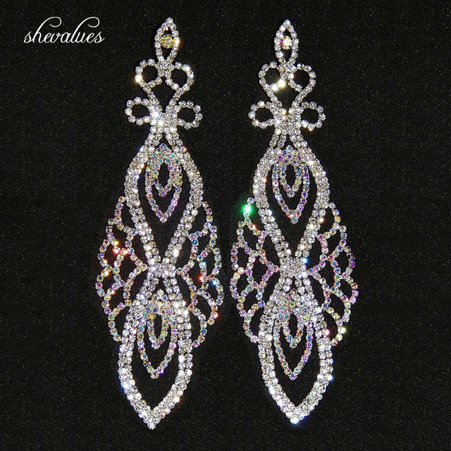 diamante long p drop earrings silver