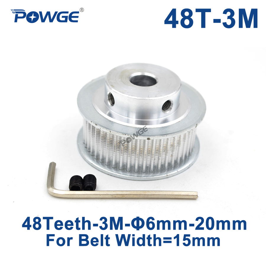POWGE 48 Teeth HTD 3M Timing Pulley Bore 6/8/10/12/14/15/20mm for Width 15mm 3M Synchronous belt HTD3M pulley gear 48Teeth 48T