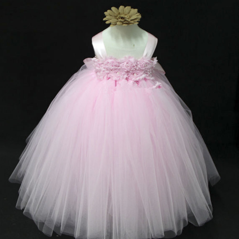 Elegant Flower Tutu Dress Pink Beige Purple Wedding Dresses For Party Baby Shower Clothing Toddler In From Mother Kids On