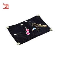 السفر المحمولة أسود المخملية مجوهرات الحقيبة النسائية الزفاف مجوهرات لفة حقيبة تخزين حالة مصغرة