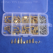 200pcs M3 PCB Hex Male Female Thread Brass Spacer Standoffs/ Screw /Hex Nut Assortment set Kits with Plastic Box clos 25mm body length 20 pcs screw pcb stand off spacer hex m3 male x m3 female brass hex spacers screw nut promotion wholesale