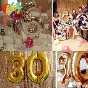 """Image 4 - 1PC 3 サイズ 16 """"/32""""/40 """"イードムバラクフィギュア箔番号バルーンフロートインフレータブルボール誕生日パーティー結婚式の装飾"""