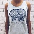 Marfim Ella Top Mulheres Verão Camiseta Elefante Impressão Sexy Slim Top Engraçado Tee Tops