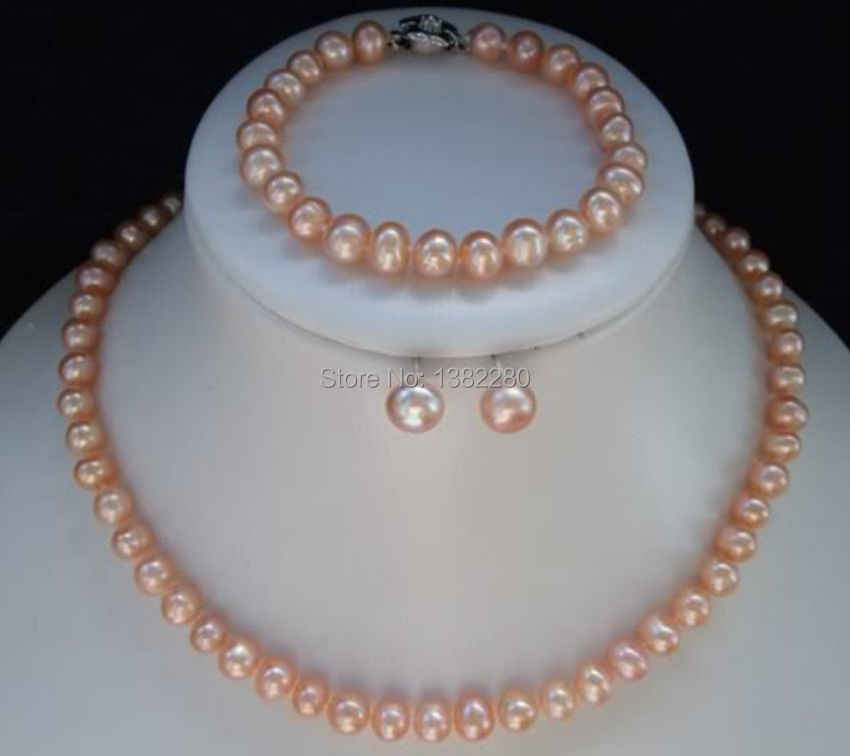 WUBIANLU 4 colors 7-8mm Pink Pearl Necklace Bracelet Earring Sets Women Jewelry Making Design Fashion Style Girl Gift Wholesale