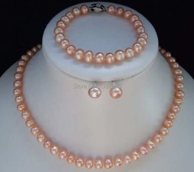 7 8mm Pink Pearl Necklace Bracelet Earring Sets Diy S Women Jewelry Making Design