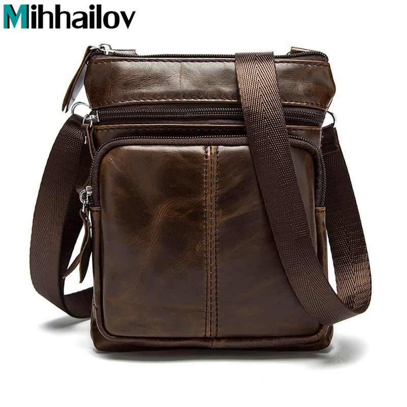 Business Men Genuine Leather Bag Natural Cowskin Men Messenger Bags Vintage Men's Cowhide Shoulder Crossbody Bag KY-3