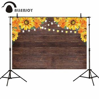 Allenjoy wedding photography backdrops brown wood sun flower lantern light photophone photo background photocall photobooth image