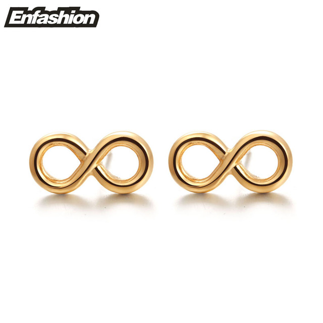 Punk Infinity Earring Ear Studs 18k Rose Gold Plated Stud Earrings For Women Stainless Steel