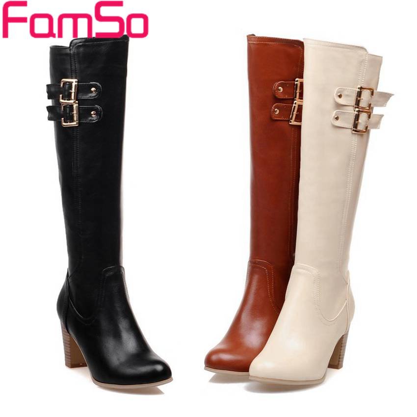 ФОТО Big Size34-43 2017 new Sexy Women Boots Buckle Shoes Long Autumn Knee High Boots Winter Women's Snow Boots ZWB2621