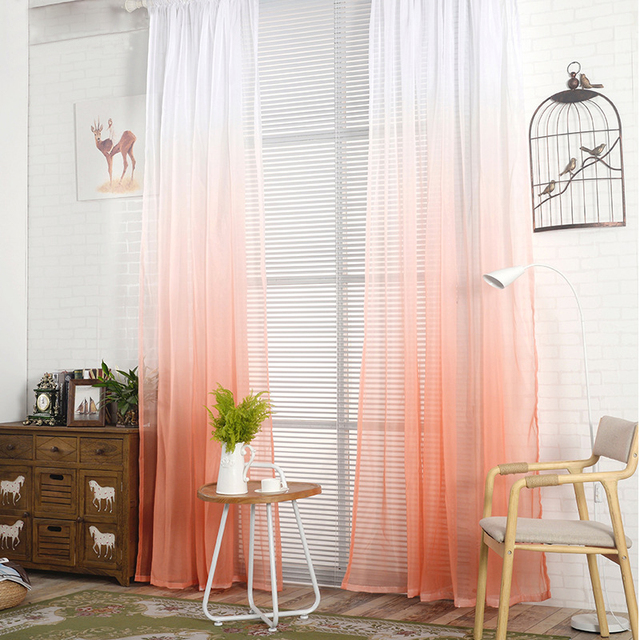 Fashion Curtains Color Gradient Tulle Bedroom Window Screen Sheer Panels  Romantic Wedding Decor Curtain For Living