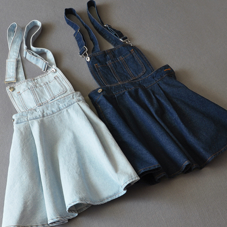 77efef6bef50e US $20.7 10% OFF New 2017 Vintage Sweet Preppy Style Womens takedown braces  mini Denim Skirt Ladies Girls A line Suspender Skirt S M L-in Skirts from  ...
