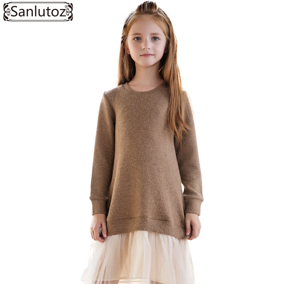 Sanlutoz Winter Girl Dress Princess Kids Clothes for Girls Long Sleeve Knitted Toddler Children Clothing Brand Party Wedding girls dress winter 2016 new children clothing girls long sleeved dress 2 piece knitted dress kids tutu dress for girls costumes