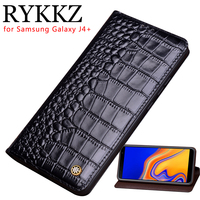 RYKKZ Genuine Leather Flip Case For Samsung Galaxy J4+ Cover Magnetic case For J415F DS J4 PLUS Cases Leather Cover Phone Cases
