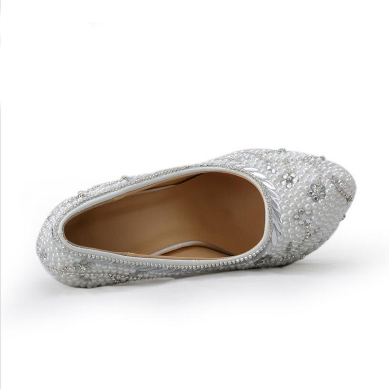 2018 zapatos de boda de diamantes de imitación de lujo con tacón blanco hecho a mano de cristal - 2