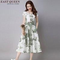 الأزهار طباعة فساتين يزين فستان عارضة الملابس الشرقية الصينية الشرقية شيونغسام طويلة القطن الصيف اللباس NN0359 ce