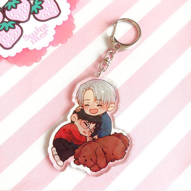 Hot Anime YURI On ICE Keychain Victor Nikiforov Yuri Katsuki Pendant Keyring Cosplay Phone Bag Pendant Keychain 2019