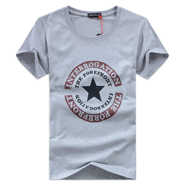 Verano Nuevo Algodón Ocasional Pentagrama Les Hommes Camiseta de manga Corta Masculina Camiseta Camisetas Tamaño Grande 5XL
