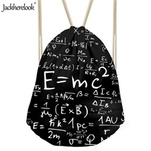 Jackherelook Teenagers Sports Drawstring Bags Cartoon Science Printed Hiking Light Shoulder Backpack Men Larger Storage Portable