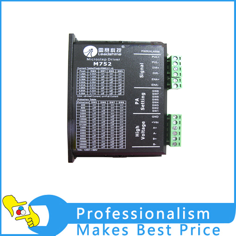 New Leadshine 2-phase microstepping driver M752 70VDC 5.2A stepper motor driver three phase stepper motor driver 3d722