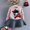 2016 autumn new Korean girls cartoon sweet children sweater  cuff sequins fly free shipping