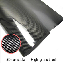 5D Car Sticker 200cmX50cm Glossy Carbon Fiber Vinyl Film Wrap Foil Waterproof DIY Auto Decorative Stickers Car Accessories