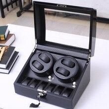 Высокое качество 4+ 6 и 2+ 0 автоматические часы моталки из углеродного волокна скользящий мотор коробка часы механизм чехол для хранения дисплей часы