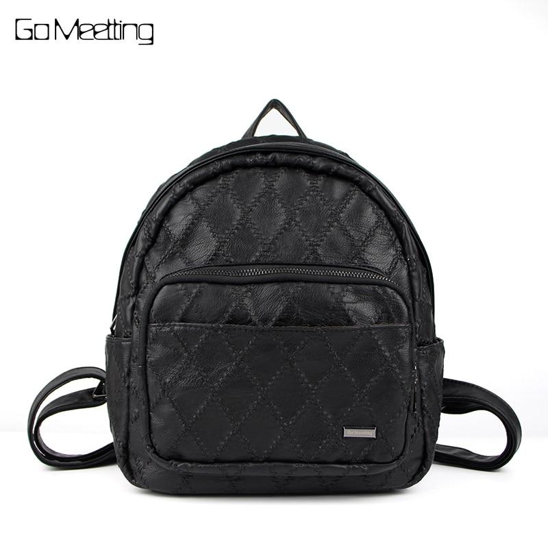 Go Meetting Brand Fashion Women Backpacks PU Leather Diamond Lattice bags Female Zipper Bag Black mochilas