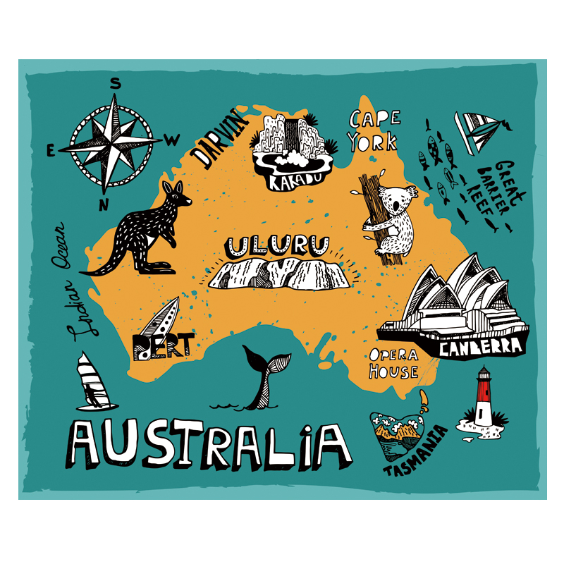 Australia Carton Illustration Map Poster Size Wall Decoration Large Map Of Australia  80x66 Waterproof And Tear-resistant