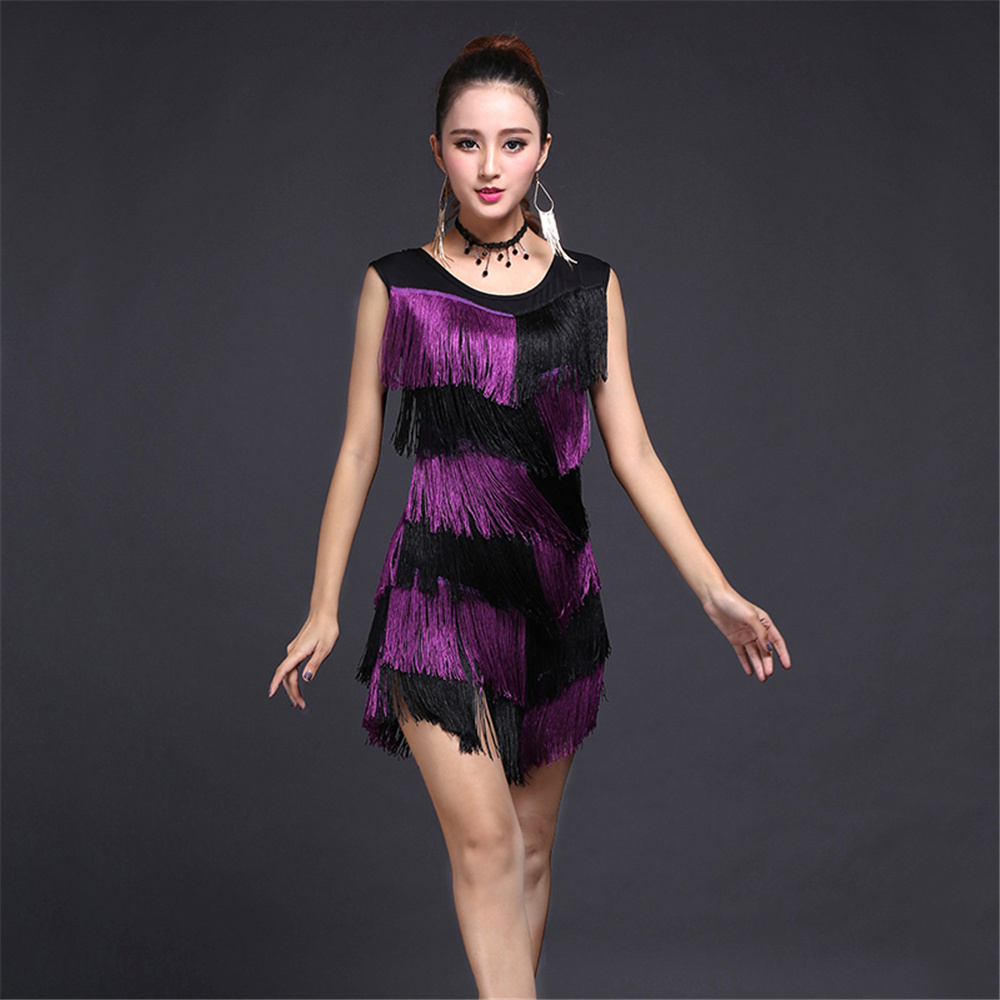 US $23.59 41% OFF|HOT Sale Latin Tassel Fringe Dress Secondary Color  Dacning Costumes for Women Evening Party Dress Plus Size  (Skirt+Necklace)-in ...