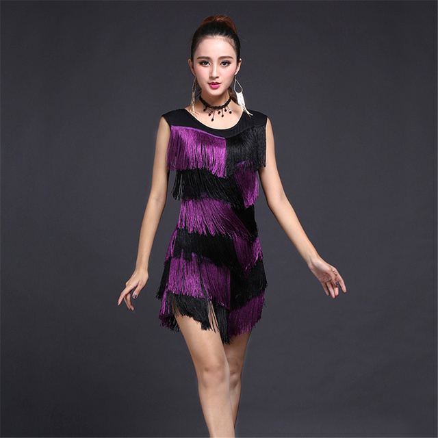 HOT Sale Latin Tassel Fringe Dress Secondary Color Dacning Costumes for  Women Evening Party Dress Plus Size (Skirt+Necklace)-in Latin from Novelty  & ...