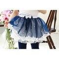 Lo nuevo de las muchachas bonitas faldas de encaje niñas bowknot gasa falda de la muchacha del estilo ocasional azul rosada de la princesa del busto de la falda ropa niños