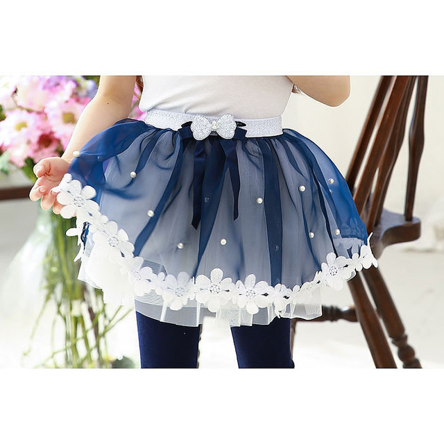 Newest Girls Beautiful Lace Skirts Girls bowknot gauze Skirt Girl Casual style Pink Blue Princess bust skirt children clothes