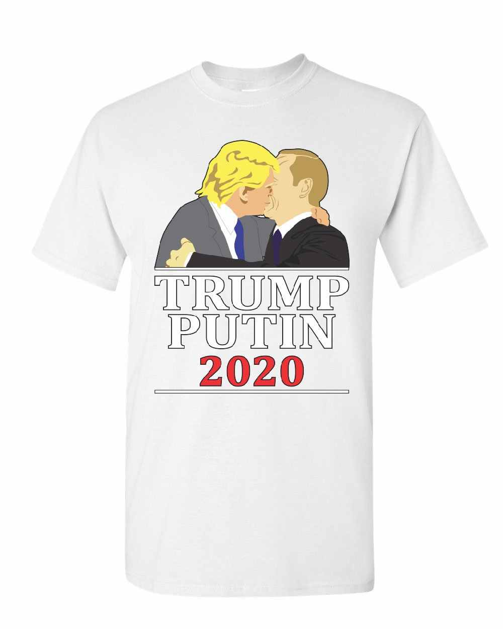 fbbee9cf98 ... Trump and Putin Kissing T-Shirt Funny Anti Trump Russia Election Mens  Tee Shirt Cartoon ...