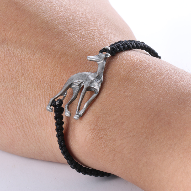 Pulsera Greyhound Plata antigua Galgo Grey Hound Dog Animal Charm Bracelet Para Hombres Mujeres 2018