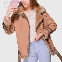 Winter warm women camel genuine leather real lambskin suede leather shearling jackets coats belt hem lambswool outwear LT2422